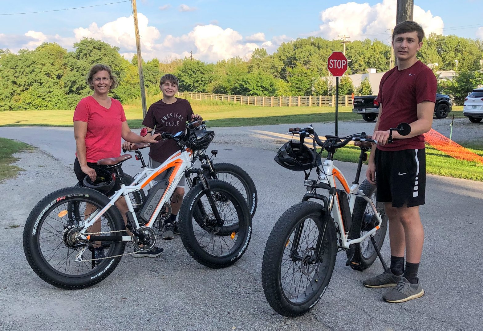 Natasha and boys with 3 Rad Rovers after their ride on the Pennsy Trail